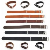 Nato G10 Military Leather Watch Straps Black Brown Tan